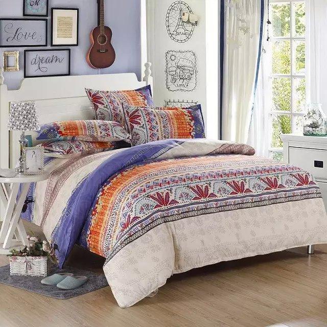 4pcs full twin bedding set duvet covers shabby chic bedding modern bedding red blue gray orange - Blue and orange bedding sets ...