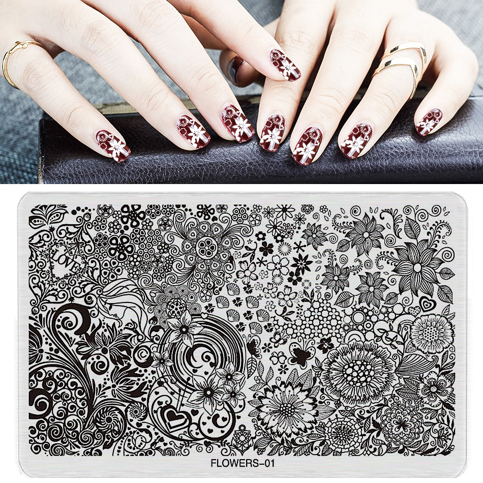 1 pc Nail Stamping Plates Plastic new arrival Stamping Plate Lace Flower Animal Pattern Nail Art Stamp Stamping Template FL(China (Mainland))