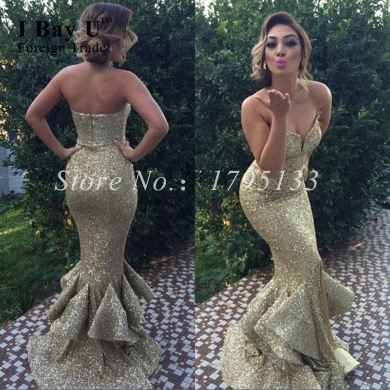 Vestido De Festa Elegant Golden Ruffle Sequined Mermaid Evening Gowns Crystal Formal Evening Gowns Dresses Arabic Oriental Dress(China (Mainland))