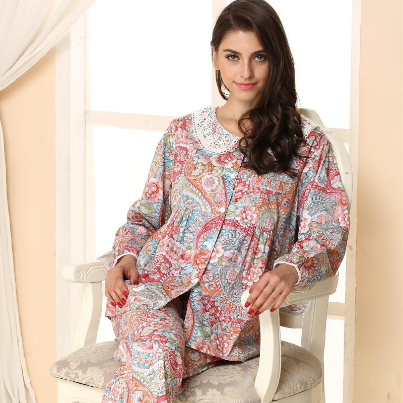 2016 Rushed Round Neck Pijamas Mujer Free Shipping Women Pajamas Long-sleeve 100% Cotton Print Sleepwear New Pyjamas Lounge Sets(China (Mainland))