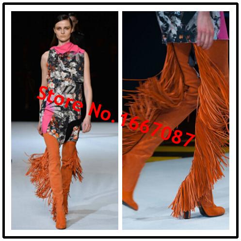 Осень / зима стильный бедро высокие сапоги обувь женская обувь из натуральной кожи кисточкой / замша ботинки женщин шик подиум пастушка мода пинетки