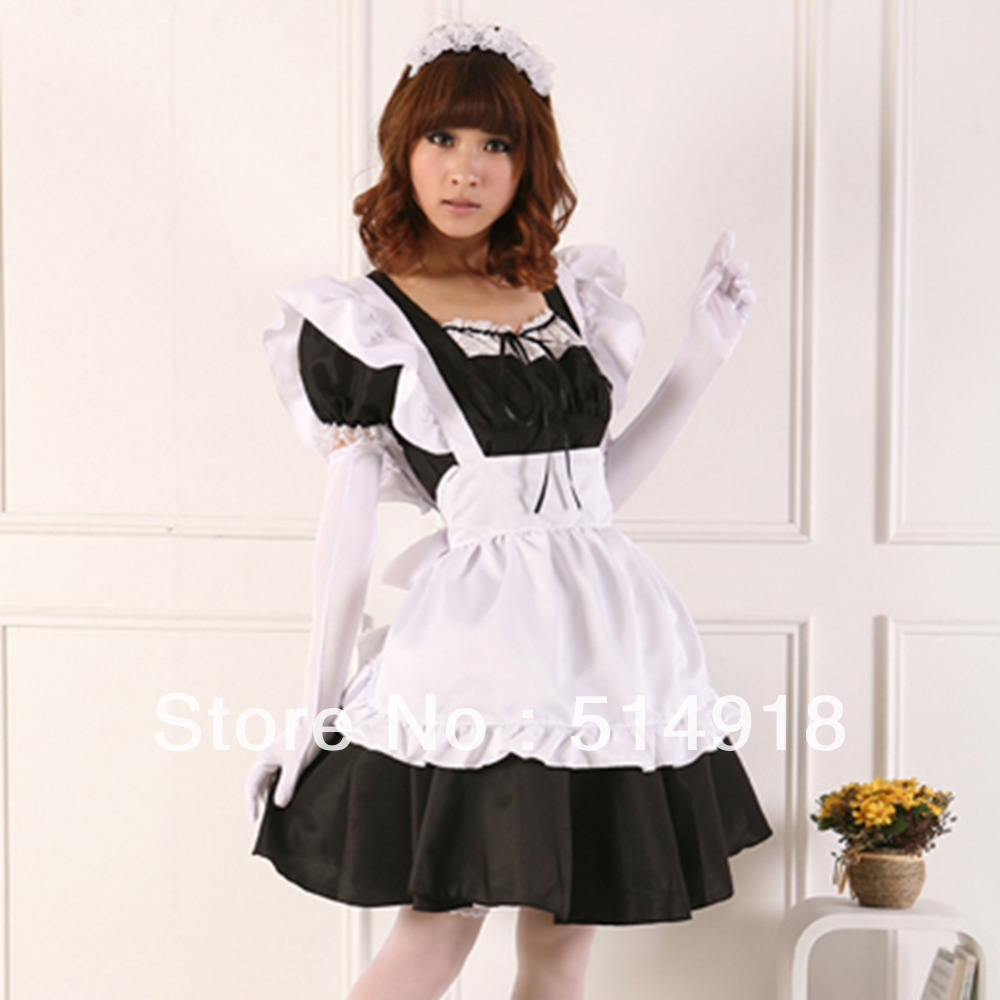 White apron maid - Tomsuit Classic Black And White Pretty Japanese Anime Cosplay French Apron Maid Costumes Cafe Maid Outfit For Halloween In Clothing From Novelty Special