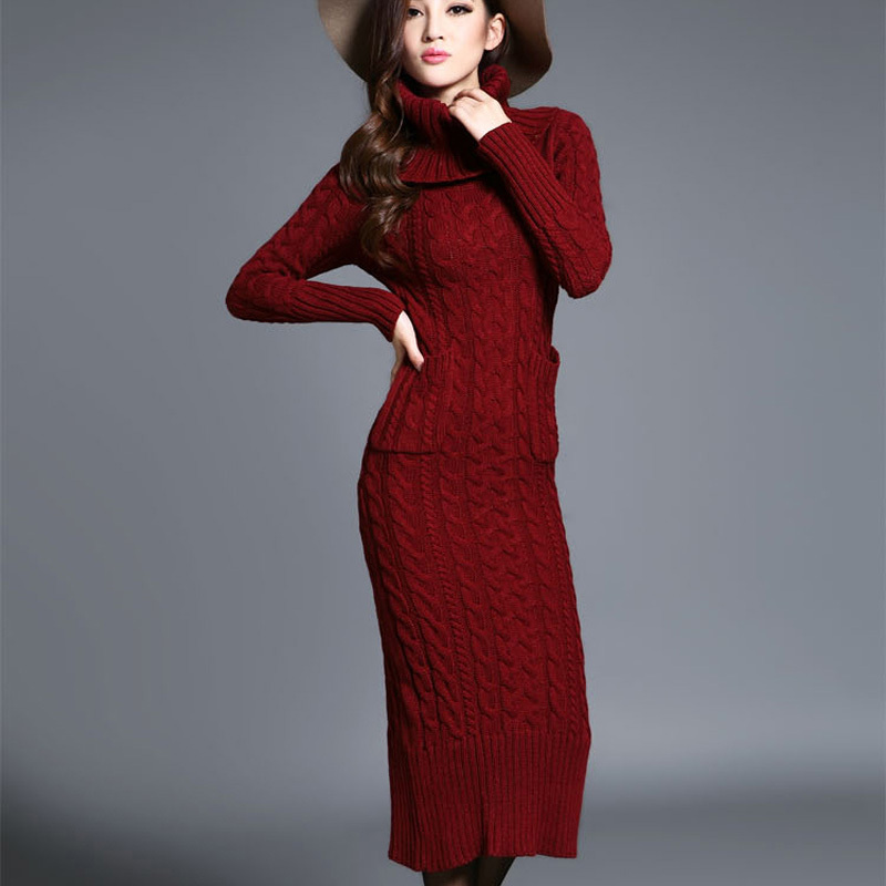 Knit maxi dresses with sleeves