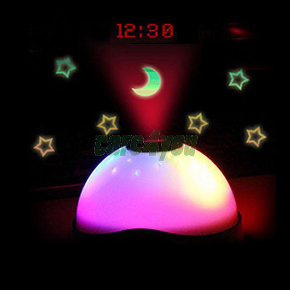 Starry Digital Magic LED Projection Alarm Clock Night Light Color Changing SWE#(China (Mainland))