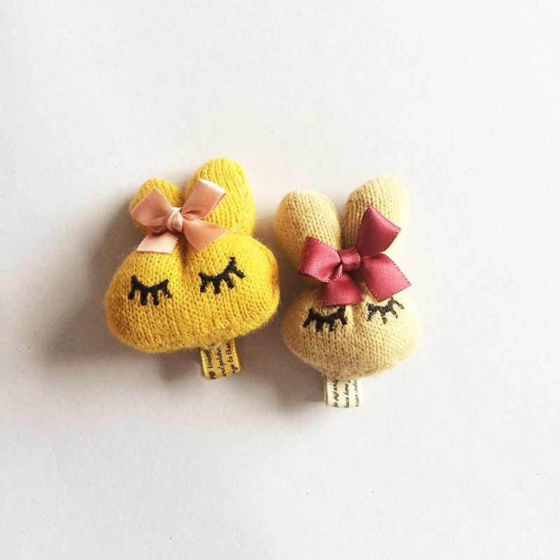 1 Pcs/lot Handmade Soft Knitting Rabbit Hair Accessories Ribbon Bowknot Hair Clip Girls Hairpin Hair Bows Childrens Headbands(China (Mainland))