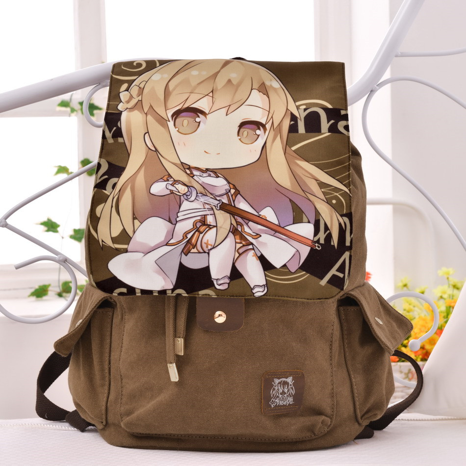 Anime Sword Art Online Yuuki Asuna Canvas Backpack School Bookbag Travelling Bag