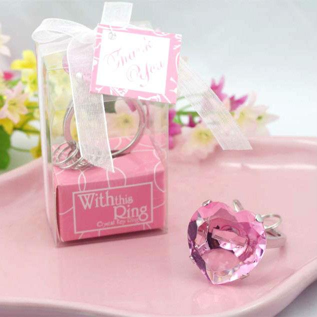 GAGA ! Pink crystal diamond Ring Key Chain / Creative wedding gift/birthday gifts/Baby Shower Favors,100pcs/lot,QQ-6-5(China (Mainland))