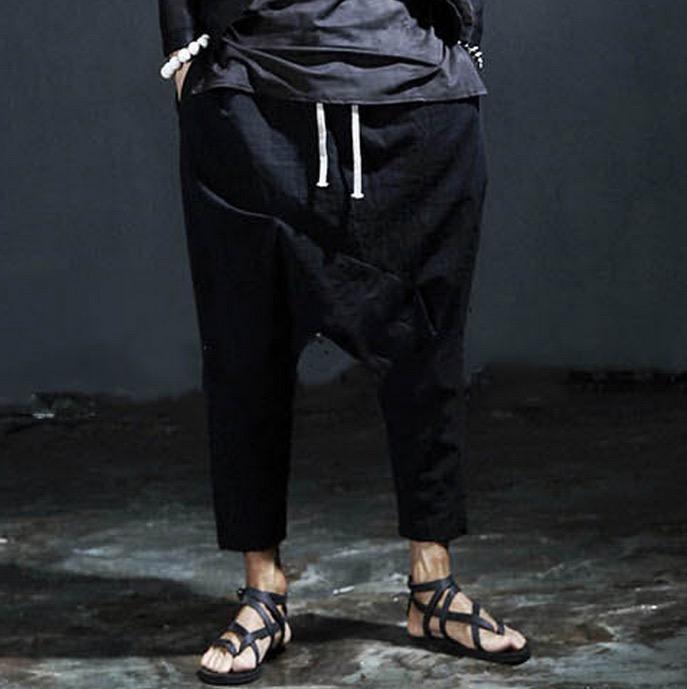 2016 Fashion Brand Harajuku Gothic Designer Black Punk Casual Drop Crotch Trousers Men Harem Pant Streetwear Linen Pants Men(China (Mainland))