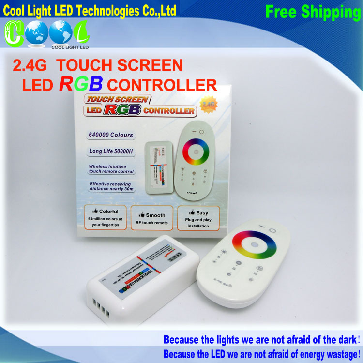 DC12-24A 18A RGB led controller 2.4G touch screen RF remote control for led strip/bulb/downlight,1set/lot(China (Mainland))