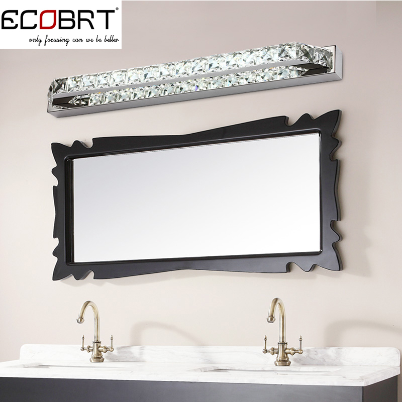 ECOBRT Top Quality Modern 18W LED Bathroom Wall Light Fxiture Crystal lighting lamps 68cm Long Mirror Lights 220V CE ROHS(China (Mainland))