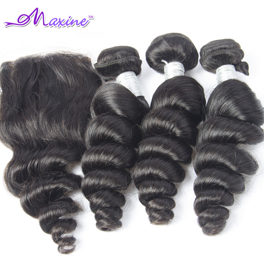 Peruvian Loose Wave With Closure Lace Frontal Closure With Bundles Peruvian Virgin Hair With Closure 7A Unprocessed Virgin Hair