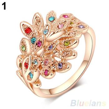 Women's Austrian Crystal 9K Gold Plated Colorful Rhinestone Peacock Wedding Ring 02M2