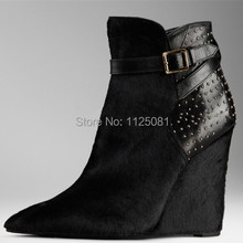 Fashion Brand Designer Rivets Slip-on  Wedges Women Pumps Boots  GenuineLeather Party High Heels Sapatos Femininos Free Shipping(China (Mainland))