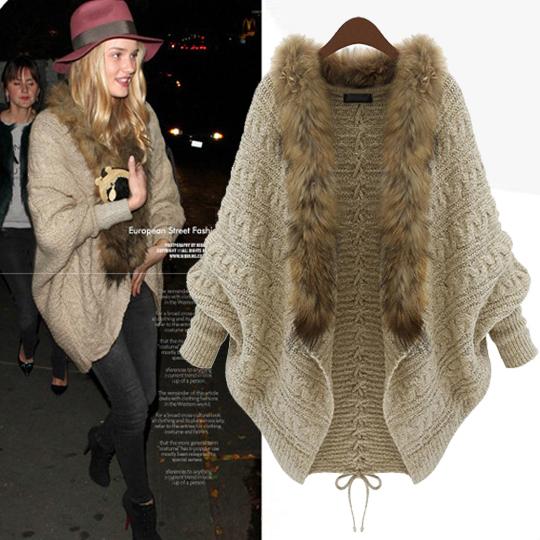 Han edition of new fund of 2014 autumn loose big yards knitting cardigan bat sleeve collars sweater coat The spot(China (Mainland))