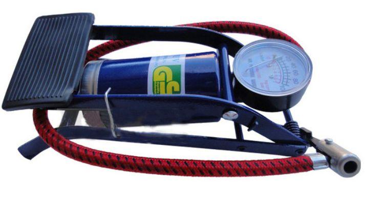 Free shipping Car vaporised pump foot pump foot air pump belt tire gauge car inflator(China (Mainland))