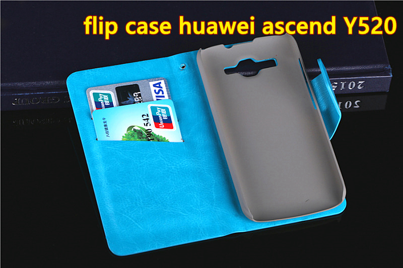Free shipping Flip PU Leather Moblie phone cover wallet Case For Huawei ascend Y520 wallet case cover(China (Mainland))