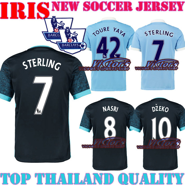 STERLING 7 City JERSEY SOCCER HOME KUN AGUERO AWAY BLACK STERLING 7 15 16 KUNAGUEO SILVA JERSEYS DZEKO FOOTBALL SHIRT CAN CUSTOM(China (Mainland))
