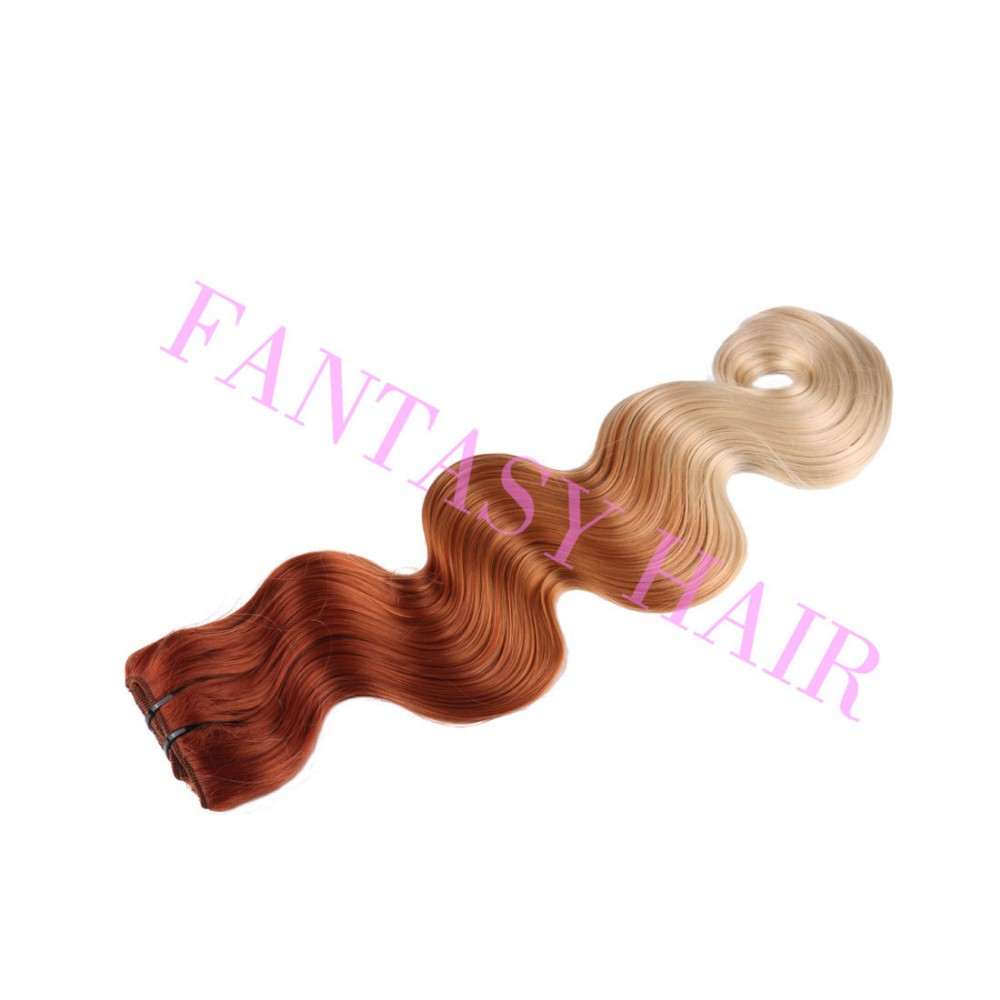 8pcslot red blonde ombre Brazilian long body wave synthetic full head clip in hair extensions for wome heat resistant no tangle-5
