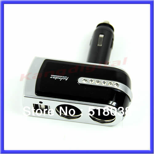 Free Shipping USB Port Twin Way Car Cigarette Lighter Power Socket Splitter Charger Adapter(China (Mainland))