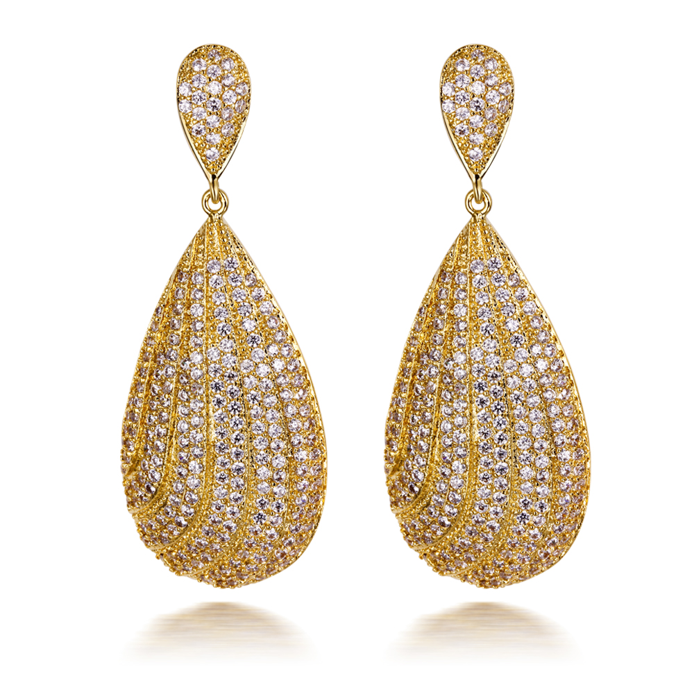 Love Deluxe Earrings-Long evening formal earrings Womens jewellery 18k gold Platinum plated Crystal long earrings Free shipping(China (Mainland))