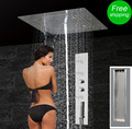 Massage Jets Shower Panel Bath Faucet Tap Set Thermostatic Mixer LED Ceiling Shower Head Rain Waterfall