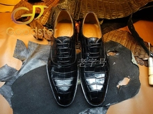 Goodyear handmade leather shoes business shoes genuine leather crocodile belly-end Italian leather soled shoes custom(China (Mainland))
