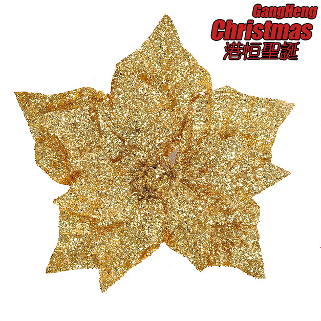Christmas tree decoration 15cm beautiful gold color three layer flower christmas flower Christmas Decoration Supplies(China (Mainland))