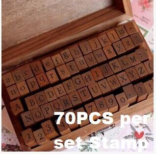 70 pcs/Set DIY stamp Standard Alphabet number & Symbol wooden box Vintage scrapbooking Stationary Office school supplies(China (Mainland))