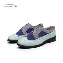 Vrouwen echt lederen oxford schoenen vrouw flats handgemaakte vintage retro lace up instappers bruin casual sneakers platte schoenen voor vrouwen(China)
