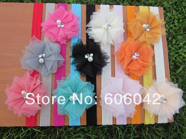 50pcs/lot, baby Elastic Headbands,soft stetch headband with 2.5inches Mini Tulle Mesh Flowers With Rhinestone Pearl Center(China (Mainland))