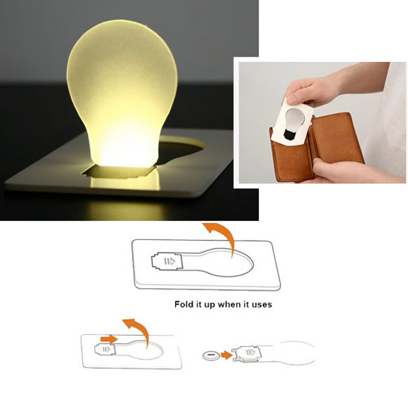 New Design Portable LED Card Pocket Light bulb Lamp Wallet Size   NVIE(China (Mainland))