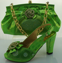 2016 Fashion Women Italian Matching Shoe And Bags Set With Rhinestones High Quality African Wedding Shoes And Bag Green(China (Mainland))