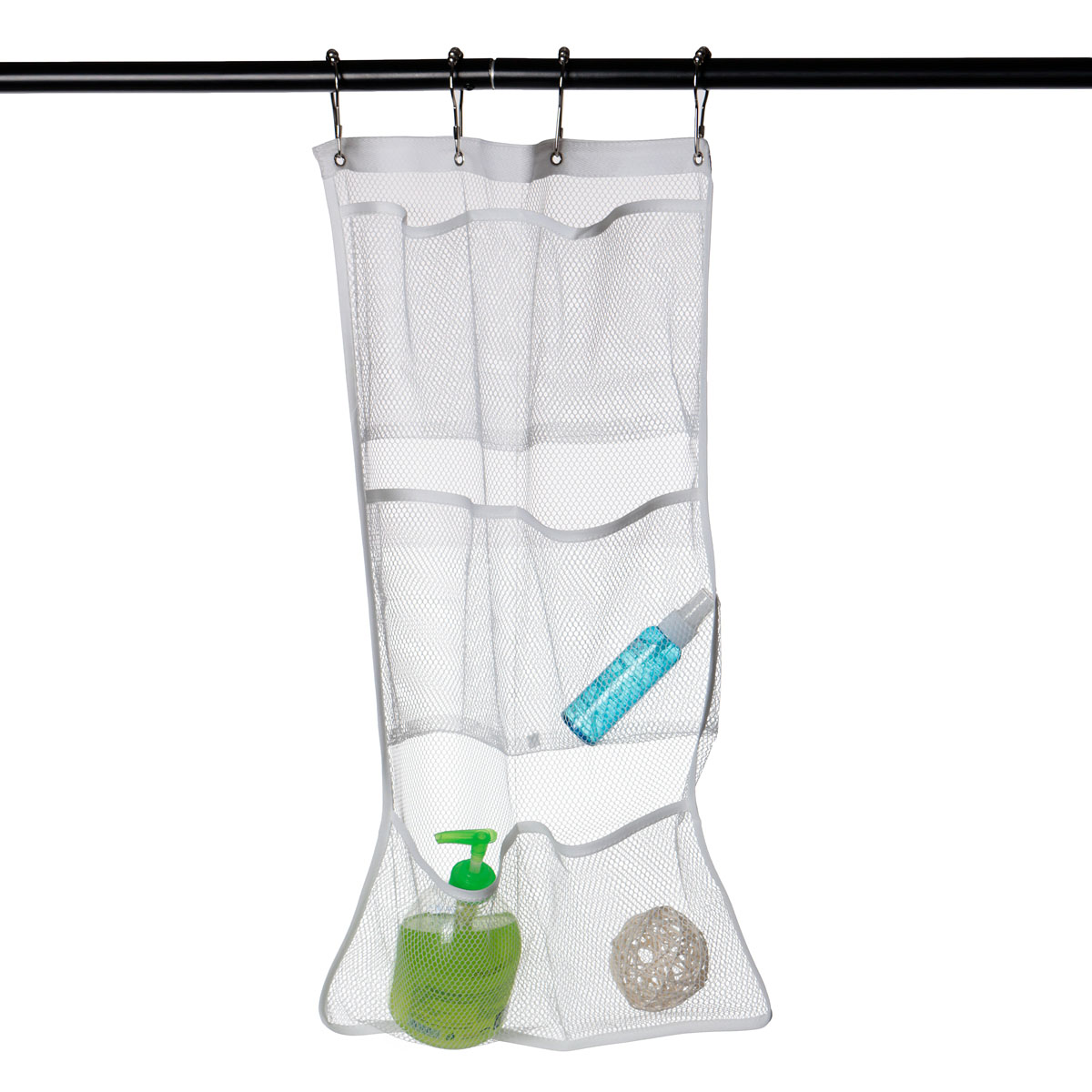Mesh Bathroom Shower Organizer Hanging Bag Foldable 6 Pockets Hanger Storage Caddy Cases With 4 Hook Travel Supplies(China (Mainland))