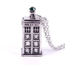Doctor Who 3D collares Tardis Police Box Pewter Tall Pendant Long Chain Pendant Necklace Fashion Necklaces For Women 2014#57872(China (Mainland))