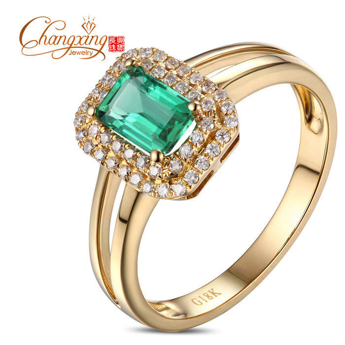 Unplated 14kt Yellow Gold 0.97ctw Colombian Emerald Diamond Engagement Ring Free Shipping<br><br>Aliexpress