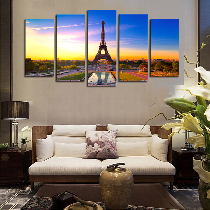 2016 sale real paintings fallout unframed 5 panels eiffel tower modern home wall decor painting Home decor paintings for sale india