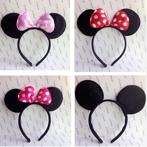 One pcs Lovely Girls Bows Minnie Mickey Mouse Ears kids Hair Accessories Party Headband kid birthday red rose black and pink(China (Mainland))