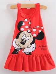 Hot Sale New 2015 Kids girls dress cute cartoon clothes, 2 colors of red and pink nice Clothes, lovely baby girls dress(China (Mainland))