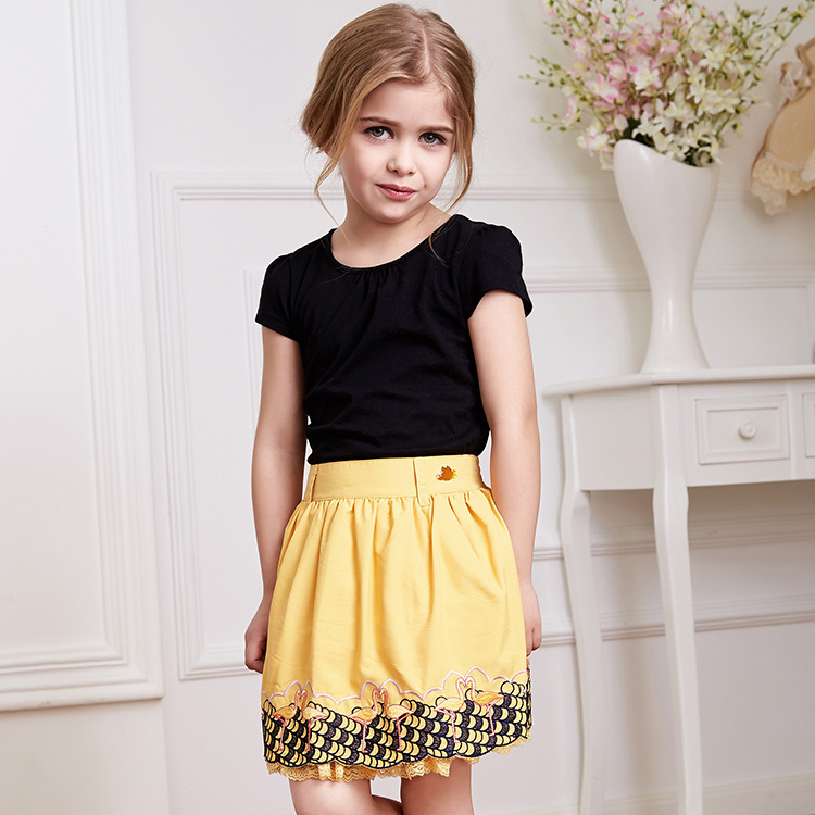 Summer A-line Embroidery Baby Girls Lace Skirts Children Knee-length Floral Clothing Yellow Age 2 4 6 8 10 G935<br><br>Aliexpress