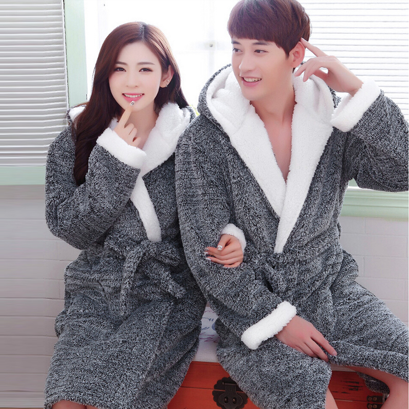Flannel Couples Bathrobes Women's Robes Winter Dressing Gowns Women Male Female sleepwear Kimono Robe Casual Home Clothes - men left women right store