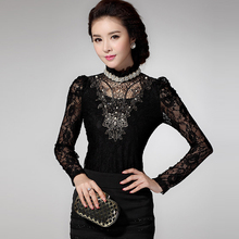 Hot sale winter women t Shirt 2015 new fashion Korean silm fit casual Embroidered Lace shirt Collar 7704(China (Mainland))
