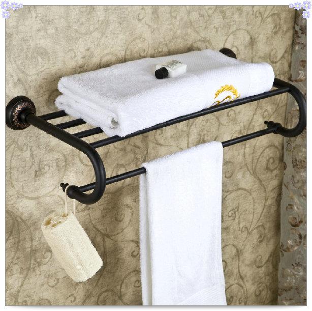 Oil Rubbed Bronze Bathroom Clothes Towel Shelf Holder Wall Mounted Towel Rack papel de parede listrado(China (Mainland))