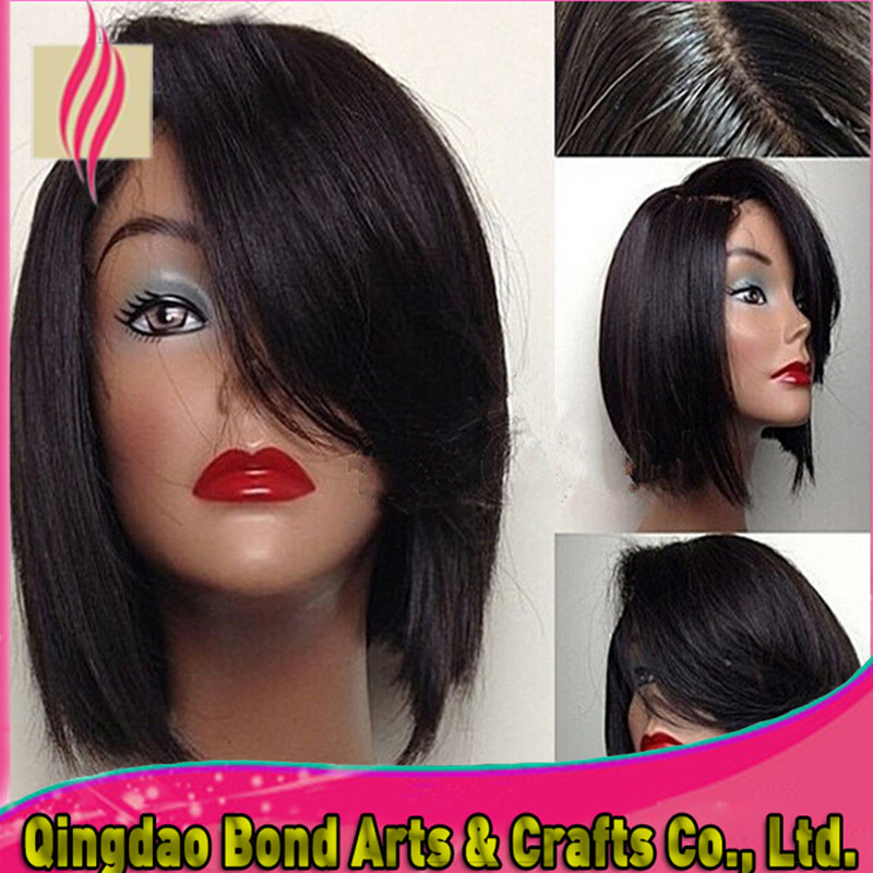 Фотография Brazilian Bob Lace Wig Glueless Lace Front Bob Wigs With Side Bang For Black Women Lace Front wig Short Bob Cut Natural Hairline