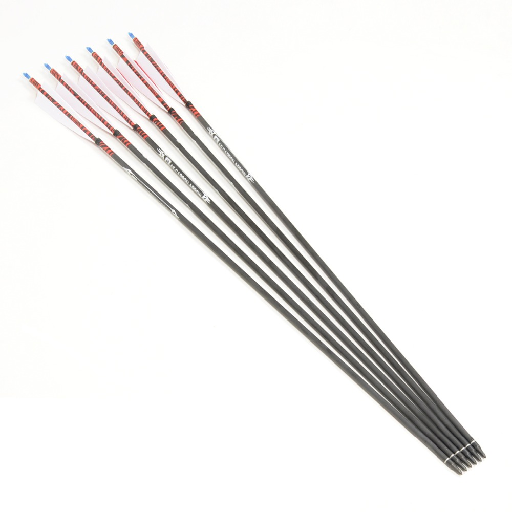 6pcs pack 80cm Carbon Arrows Spine 500 With Turkey feather for 20 50lbs Longbow Recurve Bow