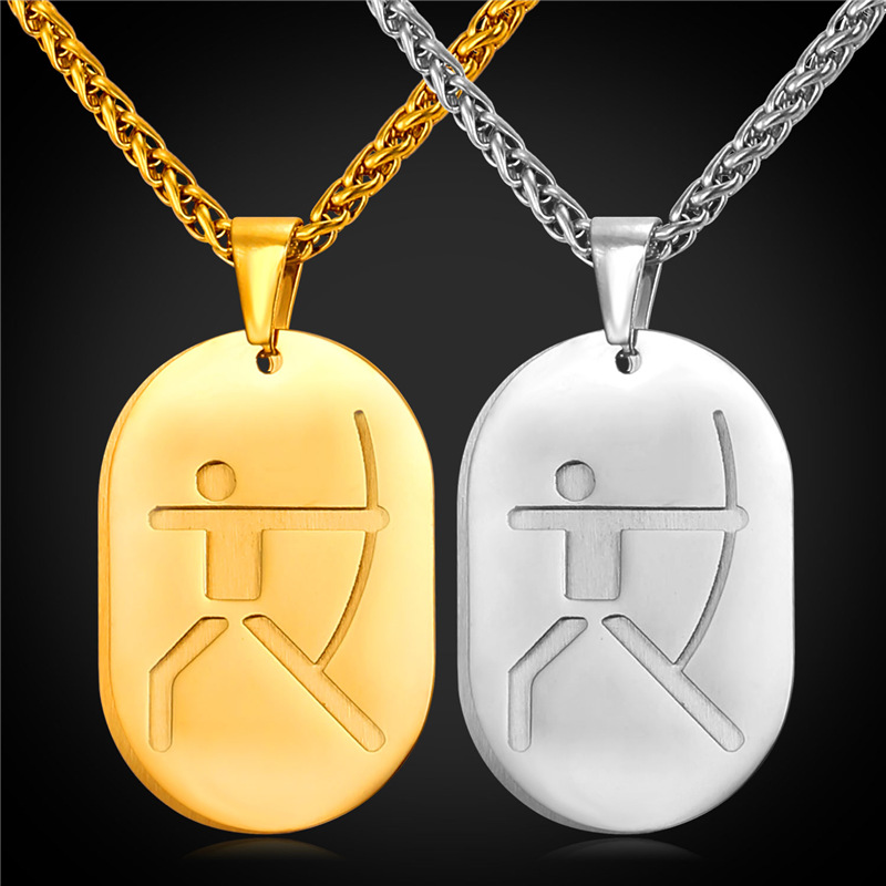 Dog Tag Double Necklace Pendant Archery Olympics 2016 Sport Jewelry Stainless Steel/18K Real Gold Plated Chain Men/Women GP2246(China (Mainland))