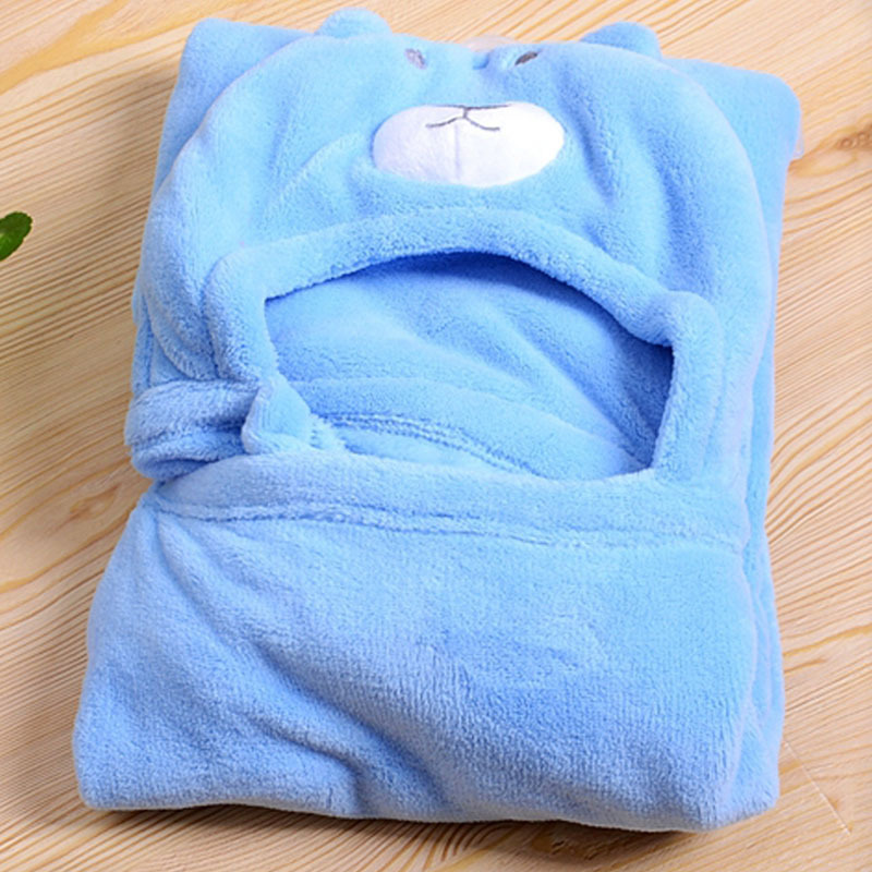 Free shipping Animal head small coral fleece wool blanket Windproof Baby blankets pack blankets with a hood cloak blanket 2015(China (Mainland))