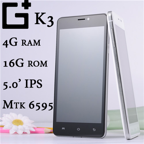 "Original smartphone G+ K3 4GB RAM MTK6595 octa core 2.5Ghz 16MP 4G LTE FDD 5.0"" IPS android cell mobile phone 4GB ram 16GB rom(China (Mainland))"