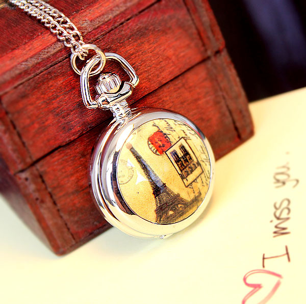 Fruitlet high quality fashion nostalgic vintage long necklace antique enamel small pocket watch g031