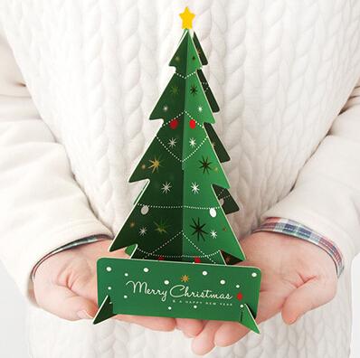 Гаджет  Merry Christmas 3D Tree Greeting Card Postcard Birthday Gift Card Set Message Card Set Thanksgiving Card None Офисные и Школьные принадлежности