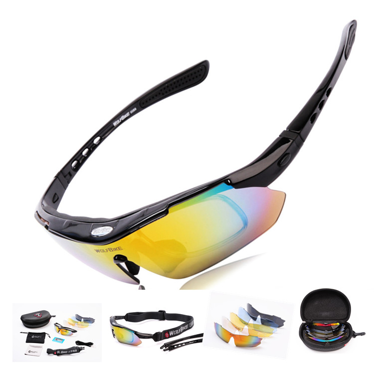 WOLFBIKE Men Motorcycle automobile Cycling Bicycle Bike Sports Sun Glasses Eyewear Goggle Sunglasses 5 Lens Polarized Color - Lanting Outdoor Products Co.,Ltd. store